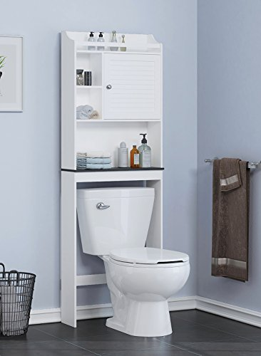 Spirich Home Bathroom Shelf Over The Toilet, Bathroom Cabinet Organizer Over Toilet with Louver Door,White (Black Shelf)