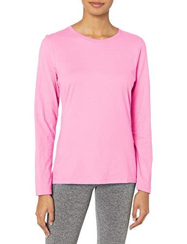Hanes Women's Long Sleeve Tee, Pink Swish, Medium