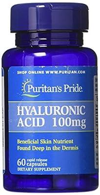 Puritans Pride Hyaluronic Acid 100 mg Capsules, 60 Count