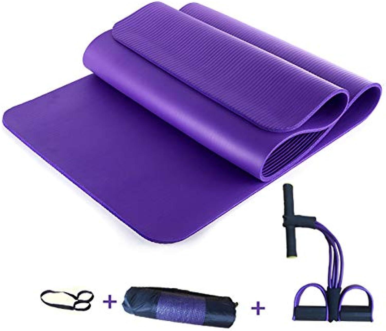LXMBox Yoga-Matte für Kinder Verdickte verlngerte Tanzmatte Anfnger-übungsmatte Rutschfeste, hohe Stretch-Fitness-Matte - 183 × 61 cm,lila-C