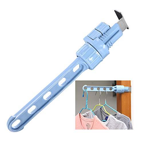 JK Home Opknoping Rack Deuren Windows Kleding Droogrekken Hanger Staaf Blauw
