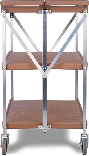 "Carlisle SBC203125 Fold 'N Go Collapsible Utility Cart, 350 Pound Capacity, 31"" Length x 20"" Width Shelf, Tan"
