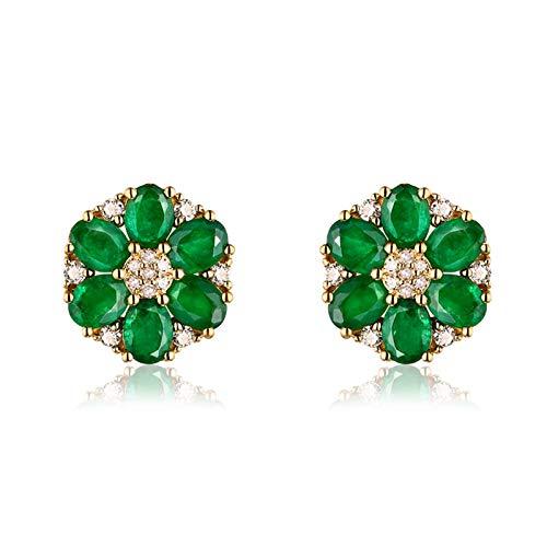 AueDsa Boucles d'oreilles Vert Doré Boucle Doreille Femme Or Jaune 18 Carat Ovale Emeraude 1.92ct
