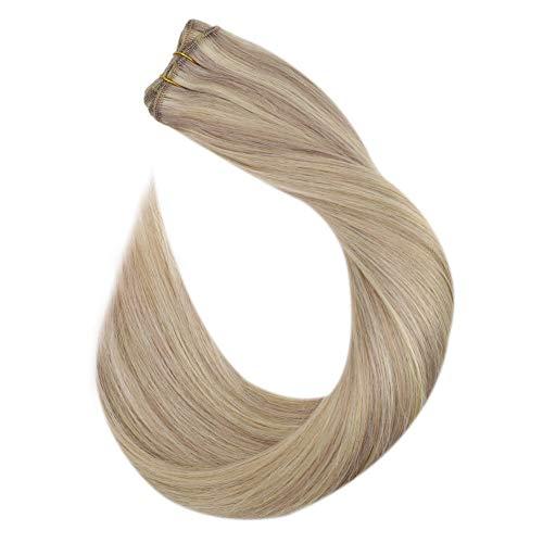 Ugeat Hair Extensions Echthaar Tressen zum Einnaehen 45cm Sew in Weave Remy Hair Haarverlangerung 100 Gramm Bundles Highlights Aschblond mit Gebleichtes Blond #P18/613