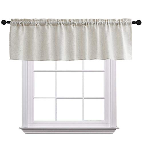 Curtain Valances for Windows Burlap Linen Window Curtains for Kitchen Living Dining Room 58 x 15 inch 1 Valance Linen Crude