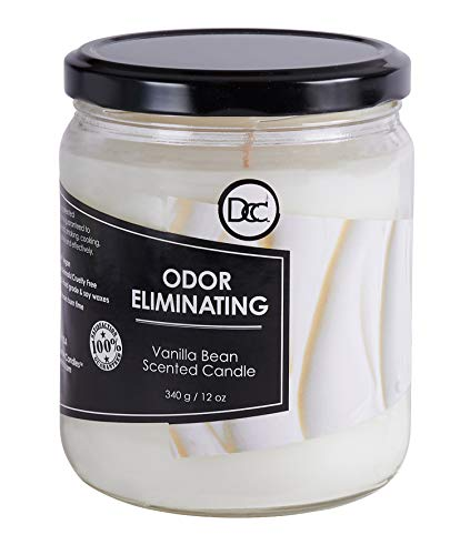 Odor Eliminating Highly Fragranced Candle - Eliminates 95% of Pet, Smoke, Food, and Other Smells Quickly - Up to 80 Hour Burn time - 12 Ounce Premium Soy Blend (Vanilla Bean)
