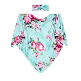 Posh Peanut Baby Swaddle Blanket - Large Premium Knit Viscose from Bamboo - Infant Swaddling Wrap, Receiving Blanket and Headband Set, Baby Shower Newborn Gift (Aqua-Floral)