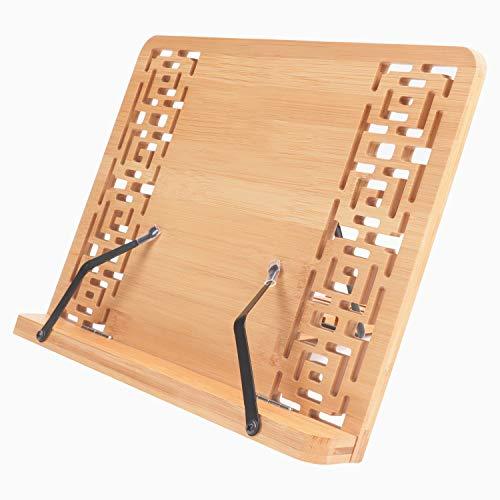 Kurtzy Leggio da Tavolo per Libri Legno Regolabile - Leggio Bambu da 33,5 x 23,5 cm - Supporto Libri Pieghevole- Leggio per Libri, Leggio Musicale da Tavolo, Cucina, Supporto iPad e Tablet