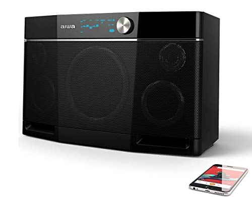 Aiwa Exos-9 Bluetooth Speaker, Outdoor Boombox, 6.5'' Subwoofer, Wireless Speaker, Stereo Sound, Distortion-Free Loud Music, Graphic Equalizer, NFC Connector, 9 Hours Playtime - Black