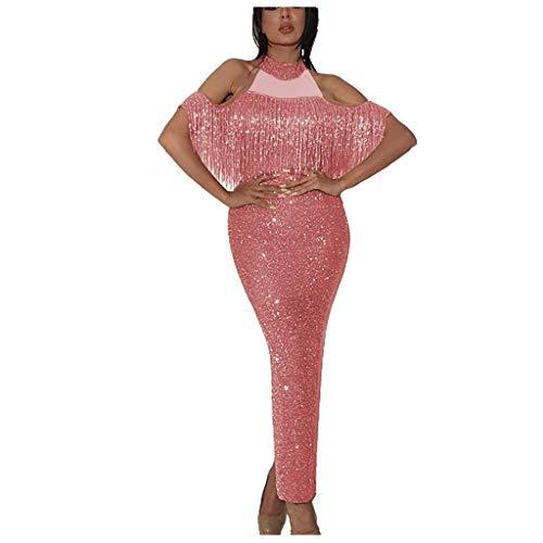 MAYOGO Cocktailkleid Damen Etuikleid Lang Glitzer Fransen Flounce Halfter Kleid Elegant Partykleid Formelles Kleid Abendkleider Bodycon Festliche Kleider für Damen