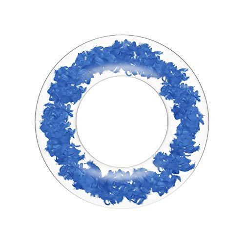 YIREAUD Anillo de natación, 27 pulgadas sucinto piscina flotador de plumas de lentejuelas círculo inflable piscina flotador gigante balsa tubo de natación para decoración de piscina fiesta