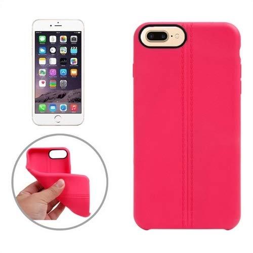 Wakaha Caja del teléfono for el iPhone Plus 8 y 7 Plus Línea Central Doble Superficie Lisa TPU Funda Protectora st (Color : Magenta)