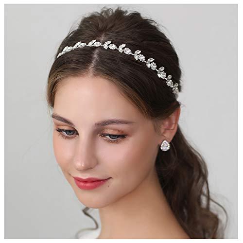 SWEETV Haarschmuck Hochzeit Kristall Stirnbänder Haarband Kristall Haarschmuck Braut Silber