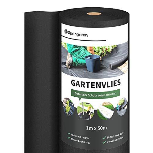 Springreen Premium Unkrautvlies - 50m² - 50g/m² - Extra effektives und UV stabilisiertes Gartenvlies zur Verhinderung von Unkraut