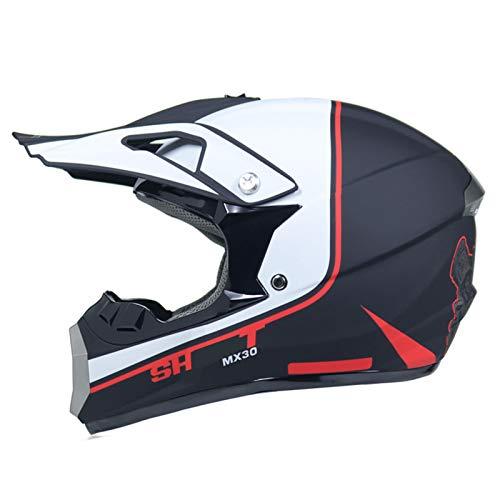 qwert Motocross Helmet, Kids Offroad Helmet, Adult Motorbike ATV Dirt Bike Helmet Downhill Mountain Bike Helmet Set, with Goggles, DOT Certified (S/M/L/XL)