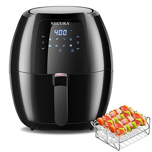 Secura Max 6.3Qt Air Fryer, 1700W Digital Hot Air Fryer | 10-in-1 Oven Oilless Electric Cooker w/Preheat & Shake Remind, 8 Cooking Presets, Nonstick Basket,ETL Listed (Bonus BBQ Rack & Skewers)