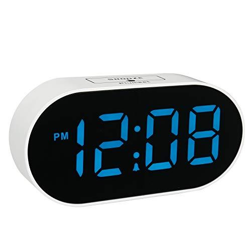 Reloj despertador LED Plumeet digital con regulador de brillo ajustable y volumen de alarma, pantalla de dígitos azules de 12 a 24...