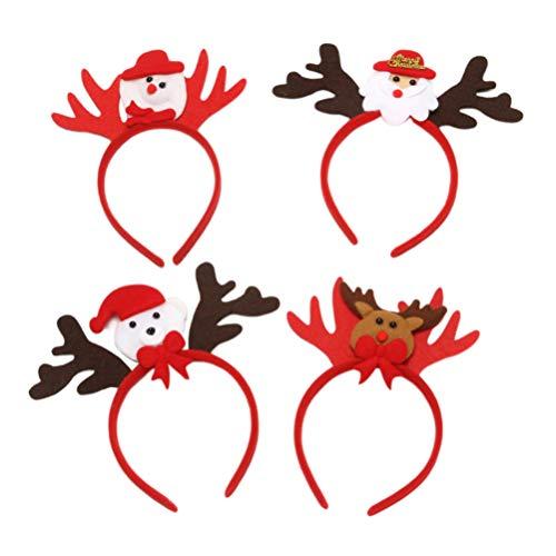 Minkissy 4 Pz Fasce Di Natale Carino Pupazzo Di Neve Orso Renne Corna Cerchietti Per Capelli Fasce Per Capelli Bomboniere Forniture Per Festa Di Natale