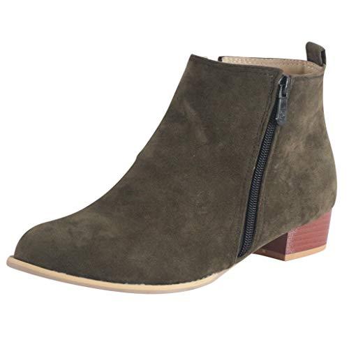 Alecony Botines Mujer Invierno Tacon Botas Cómodos para Mujer Plataforma Cremallera Casual Tobillo Ankle Boots
