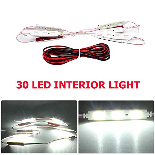 Maso Kit d'éclairage intérieur de voiture 30 LED – Étanche 12 V LED Kit d'éclairage de projet, lampe de travail, lampe de plafond, lumière ultra lumineuse pour van, camping-car, caravane, bateau, voiture (Blanc)