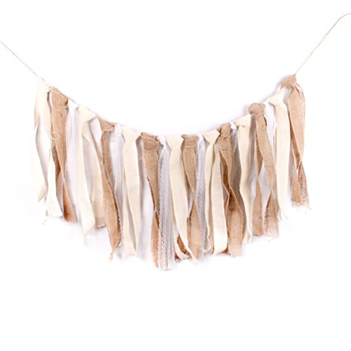 TOYMYTOY 1.85m Burlap Lace Garland Rig Tie Banner Boho Chic Rustic Tassels Bunting Banner Wedding Party Favors Decoration (White Lace)