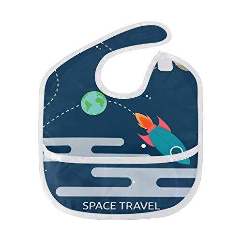 FANTAZIO Space Travel Baby Bib Waterdichte Baby Drooler Bib Wasbaar Kostuum voor 6-24 Maanden