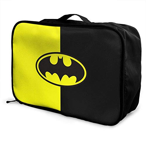 B-atman Yellow and Bla Travel Duffel Bag Storage Paet Foldable Waterproof Lightweight Portable High Capacity Tote Carry on Lage Bags