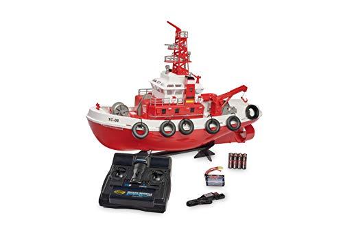 Carson 500108033 Feuerlöschboot TC-08 – ferngesteuertes Feuerwehrboot mit Spritze, RTR, 3-Kanal 2.4 Ghz Fernsteuerung, 20 Minuten Fahrzeit, inkl. Batterien, Rot
