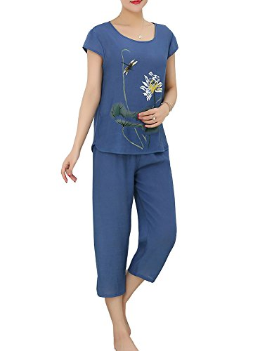 Pijamas Mujer Set Ropa De Dormir Pijama Conjunto con 2 Piezas Pantalón Corto Y Camisetas