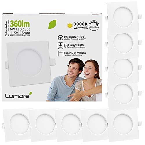 Preisvergleich Produktbild Lumare LED Einbaustrahler Dimmbar 6W 360lm 230V IP44 Ultra flach 9er Set Wohnzimmer,  Badezimmer Einbauleuchten weiss eckig quadratisch 26mm Einbautiefe Mini Slim Decken Spot warmweiß