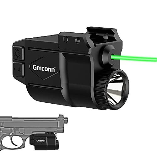 Gmconn Tactical Gun Light and Green Laser Sight Combo 650 Lumens, Flashlight Laser Combo for Pistol, Strobe Weapon Light with Green Laser for Gun with 21MM Width Picatinny Rail