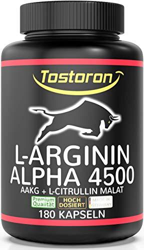 Tostoron L-ARGININ ALPHA - AAKG - hochdosiert + laborgeprüft - weck den ALPHA-STIER in dir! 180 Kapseln AAKG + L-Citrullin Malat - 1 Dose (1x156,6g) hol dir den TOSTORON HAMMER direkt nach Hause!