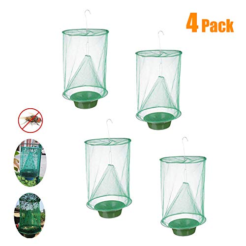 ESSEN 4 Pack Ranch Fly Trap Outdoor Farm Fly Catcher Food Bait Fly Catcher Cage for Killing Flies Used for Farm Garbage Stations etc