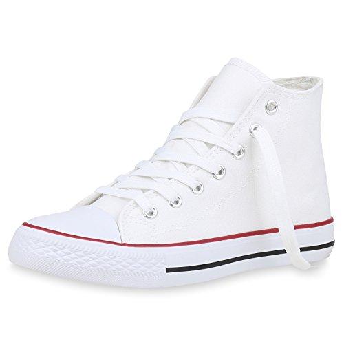 SCARPE VITA Damen Sneakers High Top Sportschuhe Stoffschuhe Freizeit 153351 Weiss 38
