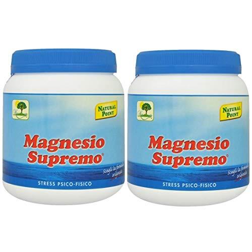 NATURAL POINT - MAGNESIO SUPREMO 2 CONFEZIONI DA 300 GR antistress naturale, stanchezza cronica, mal di testa, sistema nervoso