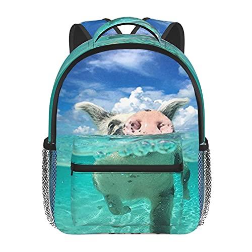 RTUBNSD Kinderrucksack Schwimmendes Schwein, Kindergarten Vorschul Tasche Schultasche für Kleinkinder Mädchen Jungen