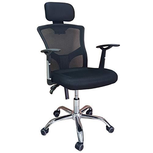 DynaSun Silla giratoria Oficina doméstica en poliéster, Tela y sillón Presidencial Neto con Respaldo ergonómico, Soporte para la Cabeza