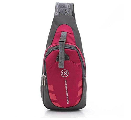 Sacoche asymétrique Gym Fanny portage poitrine avec bandoulière ajustable - homme ou femme- pour cyclisme, randonnée, camping, voyage, Homme, rose rouge