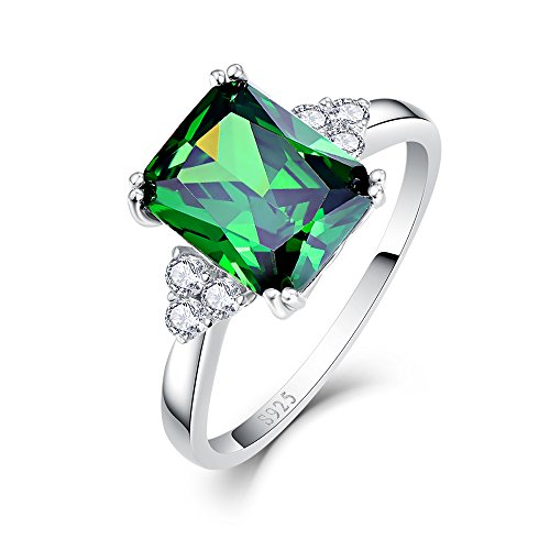 BONLAVIE May Birthstone Rings with Solid 925 Sterling Silver Created Green Emerald Cubic Zirconia CZ Rings Size 5