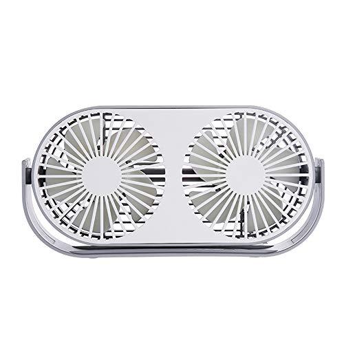 Lbyhning USB-ventilator, desktop USB-ventilator, dubbele kop, aromatherapie-ventilator, stille desktop minilventilator voor studentenhuis, met twee vleugels en drietraps toerentalregeling C