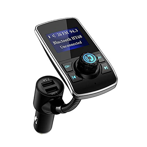 Aigoss Transmetteur FM Bluetooth Kit de Voiture sans Fil Appel Mains Libres, avec Double Port USB et Port Audio 3,5mm, et écran de 1.44 Pouces, Port Audio AUX pour Player MP3, Fente pour Carte TF