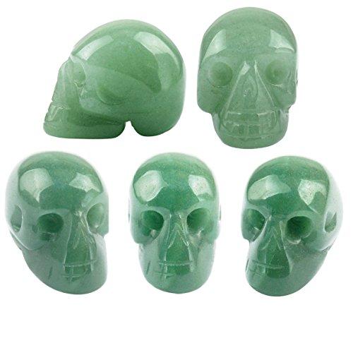 SUNYIK Green Aventurine Carving Skull Stone Pocket Statue Figurine Decor 1' Pack of 5