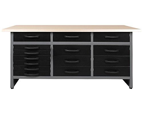 Ondis24 Werkbank Werktisch Packtisch 15 Schubladen Werkstatteinrichtung 160 x 60 cm Arbeitshöhe: 85 cm TÜV geprüft
