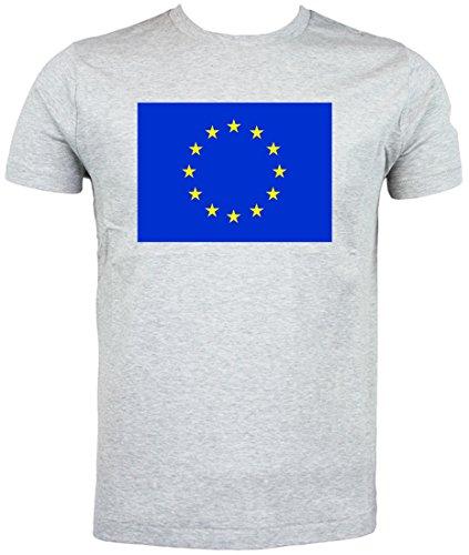 EU Flagge T-Shirt Europäische Flagge, Grau - grau - Größe: 3X-Large