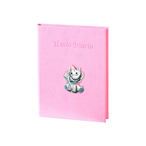 Valenti&Co - Album Geburt Tagebuch Rosa aus Leder - Elefant in Silber - Größe 17,5 x 24,5 cm - Code 10772 RA