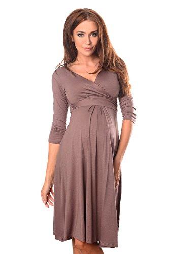 Purpless Damen Umstandskleid Schwangerschaft Kleid V-Ausschnitt Mit 3/4 Ärmeln Umstandsmode 4400 (36, Cappuccino)