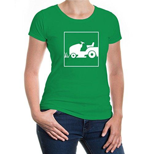 Girlie T-Shirt Rasentraktor-Piktogramm-XXL-Kellygreen-White