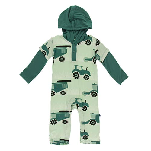 KicKee Pants Print Long Sleeve Hoodie Romper (Pistachio Tractors and Wheat - 2T)