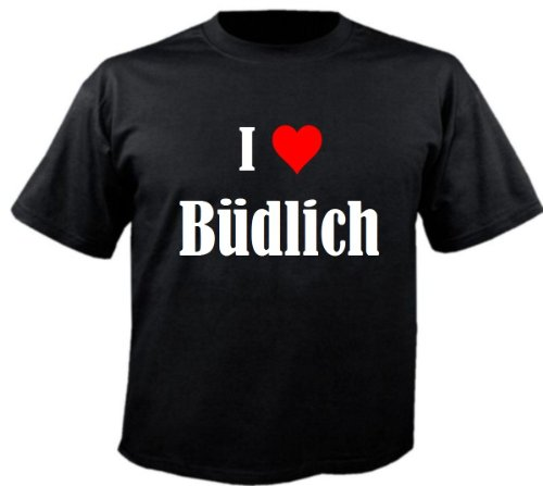 Camiseta con texto 'I Love Büdlich para mujer, hombre y niños en los colores negro, blanco y rosa. Negro S
