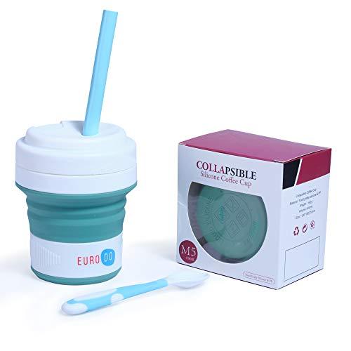 EURODO Taza de Café 450ML para Llevar con Tapa, Pajita y Cuchara - Taza de Viaje Reutilizable Plegable de Silicona - Taza Portátil Cierre Hermético (Verde)